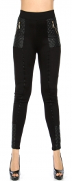 Wholesale Y02E Faux leather detail leggings pants Black
