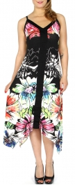 Wholesale H36C Watercolor flower sidetail dress PLUS SIZE Black