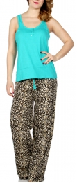 Wholesale P40 Solid tank & animal print pants PJ set Teal