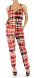 wholesale M04 X back plaid jumpsuit BL fashionunic