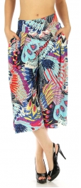 wholesale A05 Abstract capri palazzo pants Feather