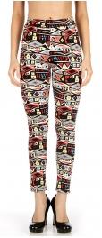 wholesale K36 Softbrush geo fur lined leggings Red/Blue