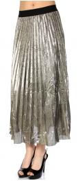 Wholesale S00C Metallic pleats maxi skirt Black