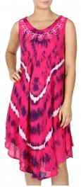 Wholesale K54A Neck embroidery circular tie dye batik dress BLUE