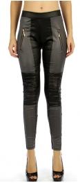 wholesale B09 Panel zipper pocket liquid leggings GY S/M