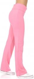 Wholesale N45 Solid cottonblend foldover pants Black