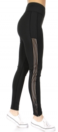 Wholesale A34A Pin stripes side active leggings Black