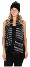 Wholesale O27E Polka dot scarf & hat set Black/White