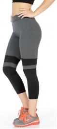 wholesale K56 Two tone colorblock active capri pants Black