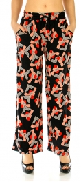 Wholesale A04 Palazzo pants abstract Black and Red