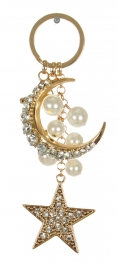 Wholesale WA00 Crescent moon & star jeweled keychain GCL
