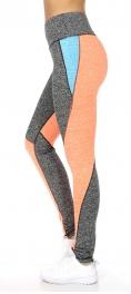Wholesale F07 Heathered colorblocks active leggings N.Orange