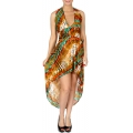 Wholesale O02 Racerback waist elastic band W/ unblance hemline wild animal pattern high low dress BR