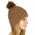 Wholesale P19 Faux fur pompom knit beanie Brown