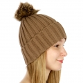 Wholesale P19 Faux fur pompom knit beanie Brown