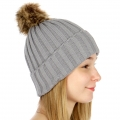 Wholesale P19 Faux fur pompom knit beanie Grey
