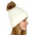 Wholesale P19 Faux fur pompom knit beanie Ivory