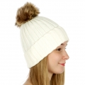 Wholesale P19 Faux fur pompom knit beanie Ivory