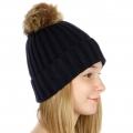 Wholesale P19 Faux fur pompom knit beanie Navy