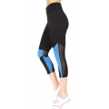 Wholesale E15E Mesh panel capri active leggings Turquoise