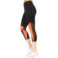 Wholesale E15E Mesh panel capri active leggings Coral