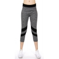 Wholesale B01E Diagonal stripes capri active pants Charcoal/Black