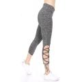 Wholesale C07C Zigzag lace side capri active leggings Grey