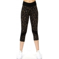Wholesale J17E Pattern printed panel capri leggings Beige Bottom
