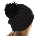 Wholesale C04-1 C.C Slouchy chenille pom pom beanie Black