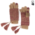 Wholesale T12B C.C Double layer knit glove with tassel Raspberry