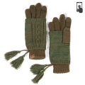 Wholesale T12B C.C Double layer knit glove with tassel Olive
