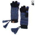 Wholesale T12B C.C Double layer knit glove with tassel Navy