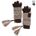 Wholesale T12B C.C Double layer knit glove with tassel Brown