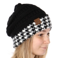 Wholesale Q06S C.C Knit beanie with houndstooth cuff Black