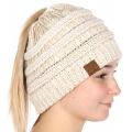 Wholesale F29 C.C Beanie tail Ivory/Gold Metallic