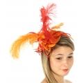 wholesale BX60 Fascinator w/ ostrich feather Red/Orange