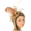 wholesale BX60 Fascinator w/ ostrich feather White/Brown