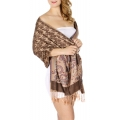wholesale D20 Houndstooth Paisley Pashmina L Brown