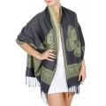 wholesale D25 Butterfly reversible pashmina Grey/Yellow
