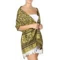 Wholesale D24 Paisley & cheetah print Pashmina Yellow