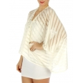 wholesale H39 Jersey see through stripe bolero Ivory