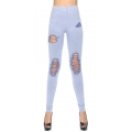 Wholesale A36 Cotton blend distressed jean print leggings Light Denim