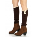 Wholesale R00 Lace top buttoned boot cuffs  Brown