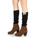 Wholesale R00 Lace top buttoned boot cuffs  Black