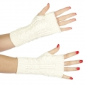 Wholesale Q03 Basic cable knit arm warmers White