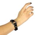 Wholesale WA00 Filigree carved ring design snap on leather bracelet ASJ