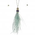 Wholesale L37A Long feather tassel necklace set RHM