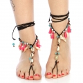 wholesale Beaded and tasseled wrap around anklets SJP