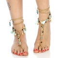 wholesale Beaded and tasseled wrap around anklets SNTQ