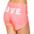 Wholesale R31D LOVE print drawstring french terry shorts Heather Neon Coral/White
